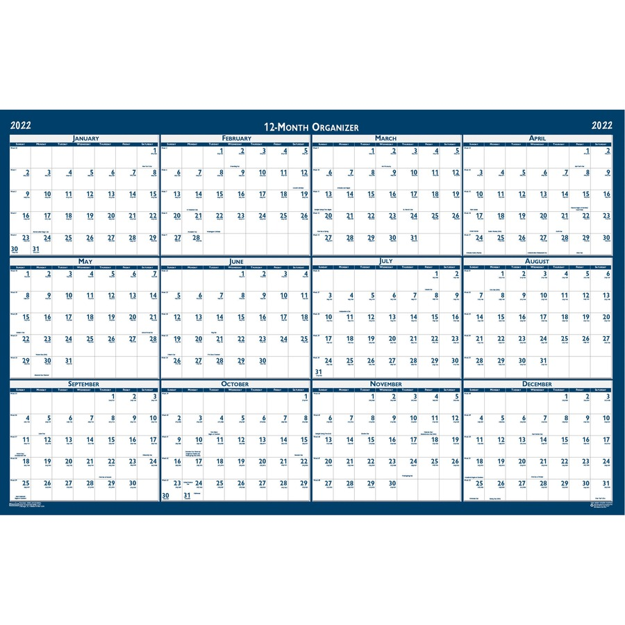 House of Doolittle Write-on Laminated Wall Planner - Yes - Monthly - 1 Year  - January 2020 till December 2020 - 32