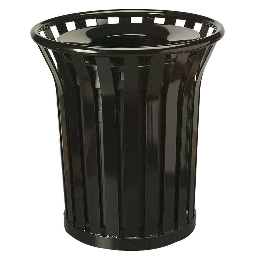 Rubbermaid  mercial Americana Steel Waste Receptacle  RCPMT32PLBK on outdoor trash receptacles commercial