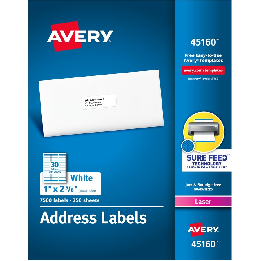 avery white mailing labels permanent adhesive 2 58 width x 1 length rectangle laser white 30 sheet 7500 box