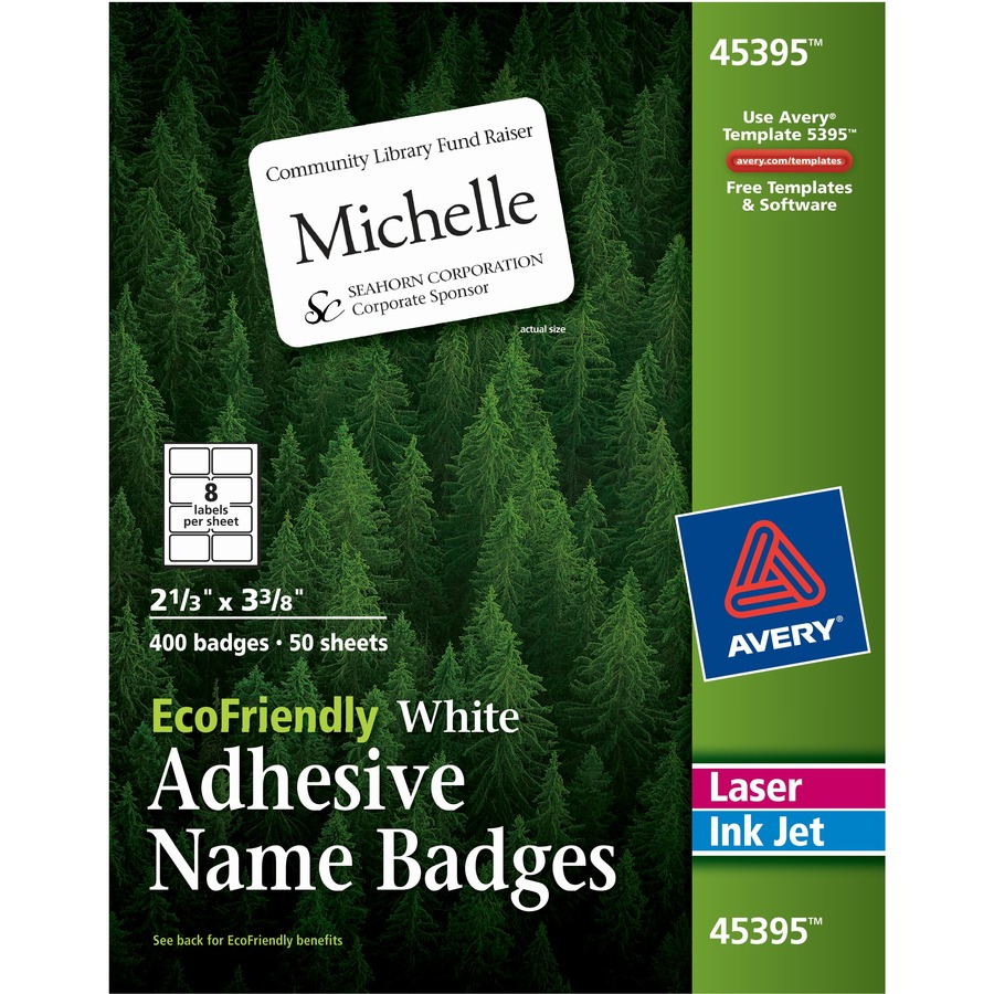 Avery ecofriendly adhesive name badge labels ave 45395 for Avery id badge template