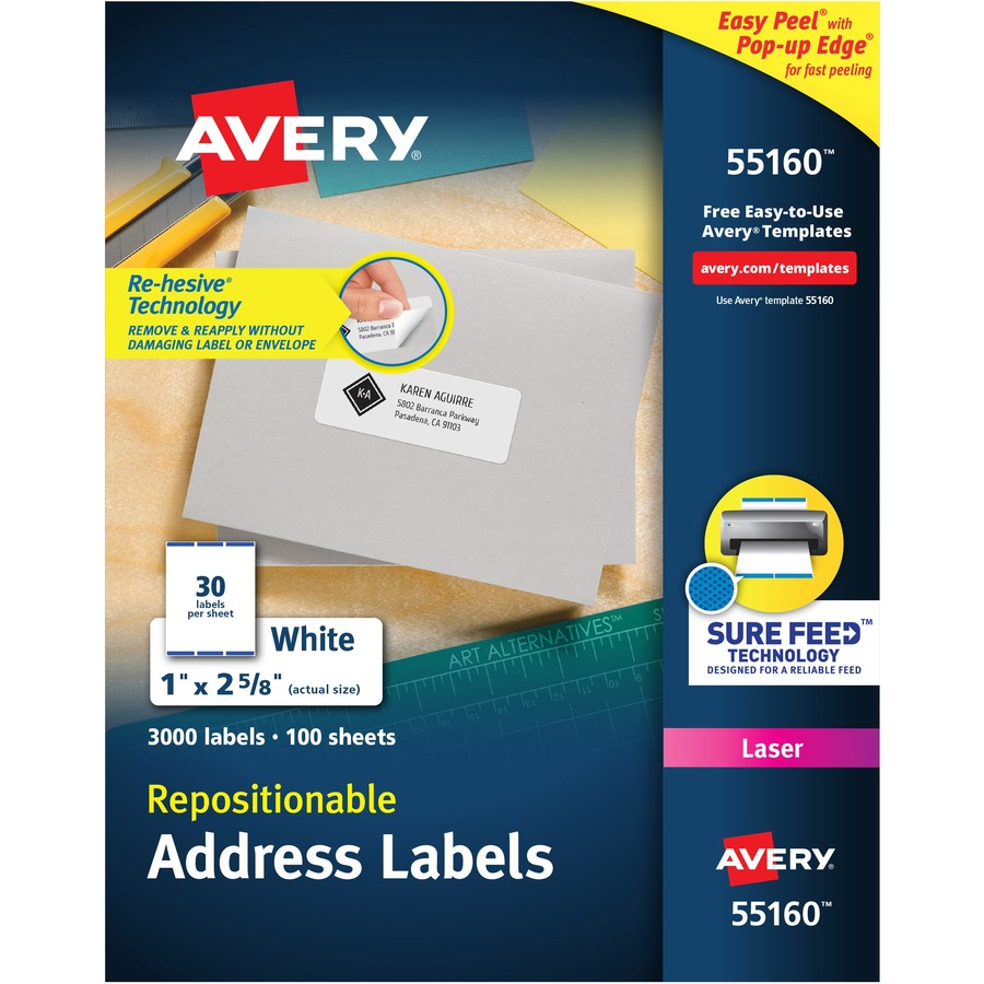 Avery repositionable mailing label ave55160 for Package address label template