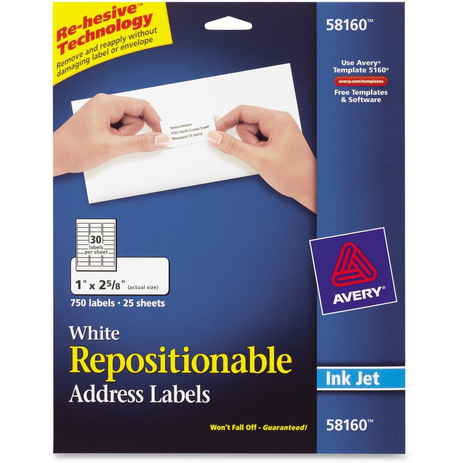 avery 58160 avery repositionable mailing label ave58160 ave 58160