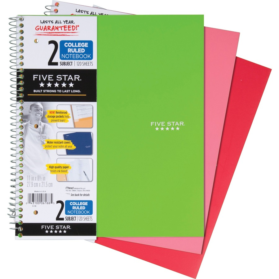 Rediform office products subject wirebound notebook wide - Mead Wirebound 2 Subject Notebook Mea06188