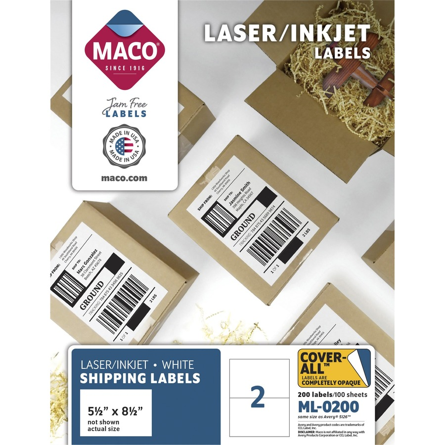 MACO White Laser/Ink Jet Internet Shipping Label - Permanent Adhesive - 5  1/2