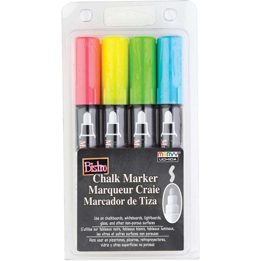 Uchida Bistro Chalk Marker Fine Point Set 4//Pkg-Fluorescent Violet Orange Red