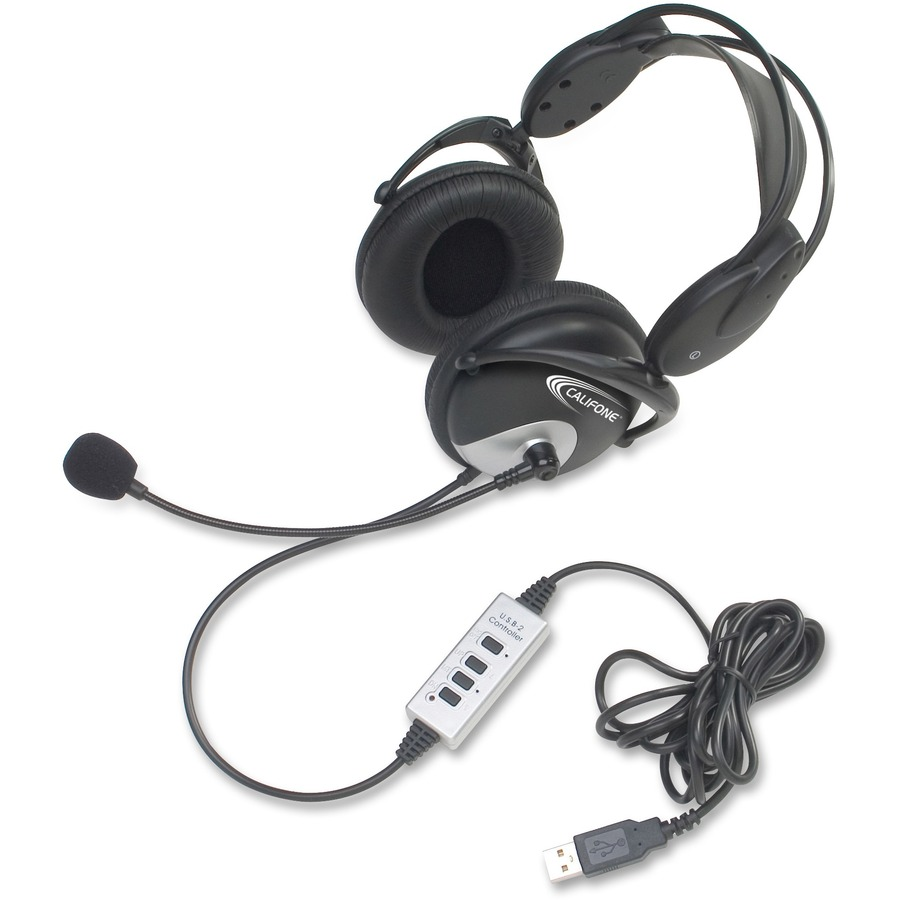 Califone Usb Headphones Wired W Unidirectional Mic Mac Papers Inc Electret Microphone Wiring Cii4100usb