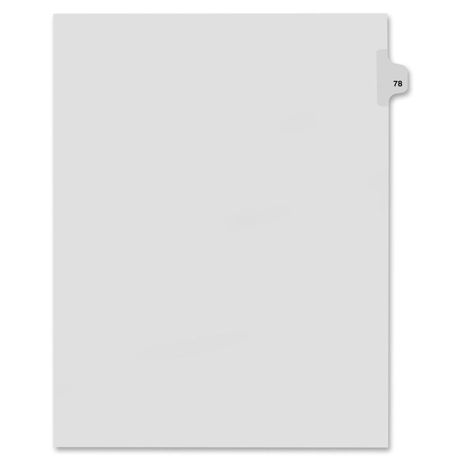 Kleer-Fax Legal Exhibit Numbered Index Dividers - Printed Tab(s) - Digit -  78 - 8 5