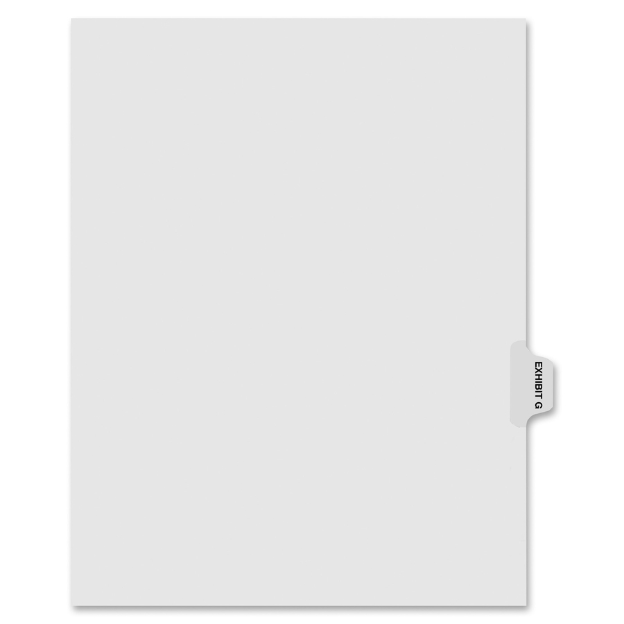 Kleer-Fax Laminated Side Tabs Exhibit Index Dividers - Printed Tab(s) -  Character - EXHIBIT G - 8 5