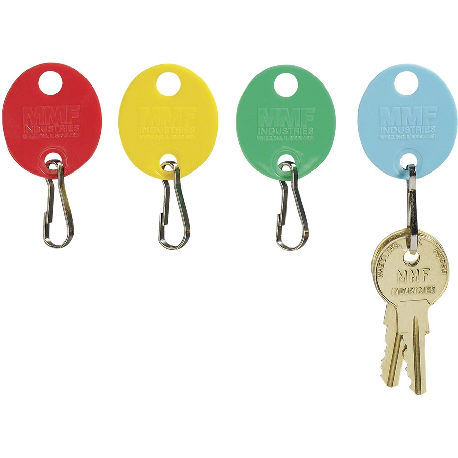 MMF Snap Hook Colored Oval Key Tags - Oval - Hook Fastener - 1 / Pack -  Plastic - Red, Yellow, Green, Blue