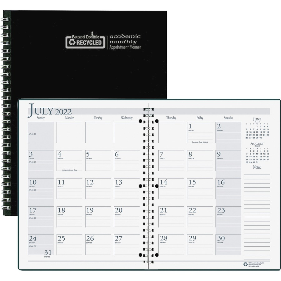 house of doolittle black cover academic monthly planner office pros