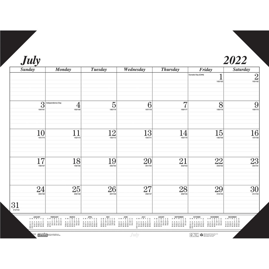 HOD155HD Recycled Two-Color Academic 14-Month Desk Pad Calendar