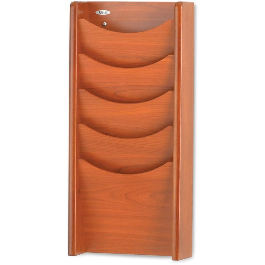 Safco 5 Pocket Wood Magazine Rack