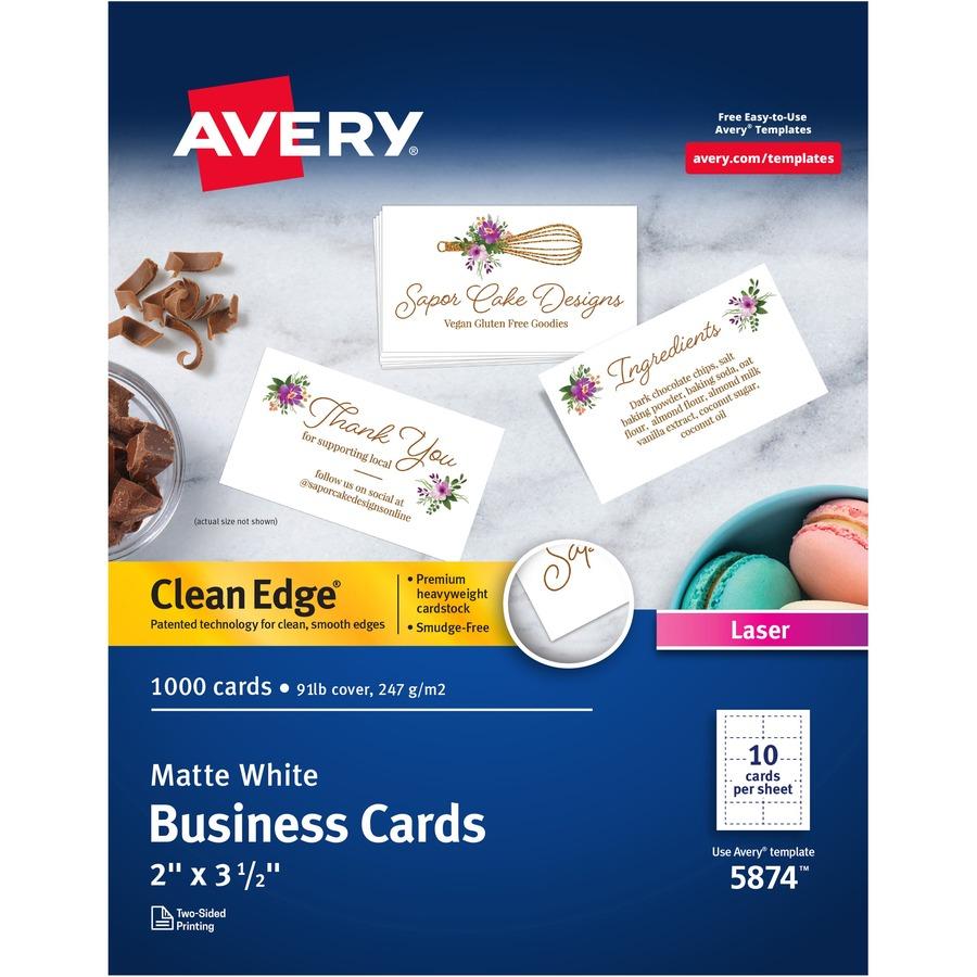 Avery Reg Clean Edge Laser Print Business Card Ave5874