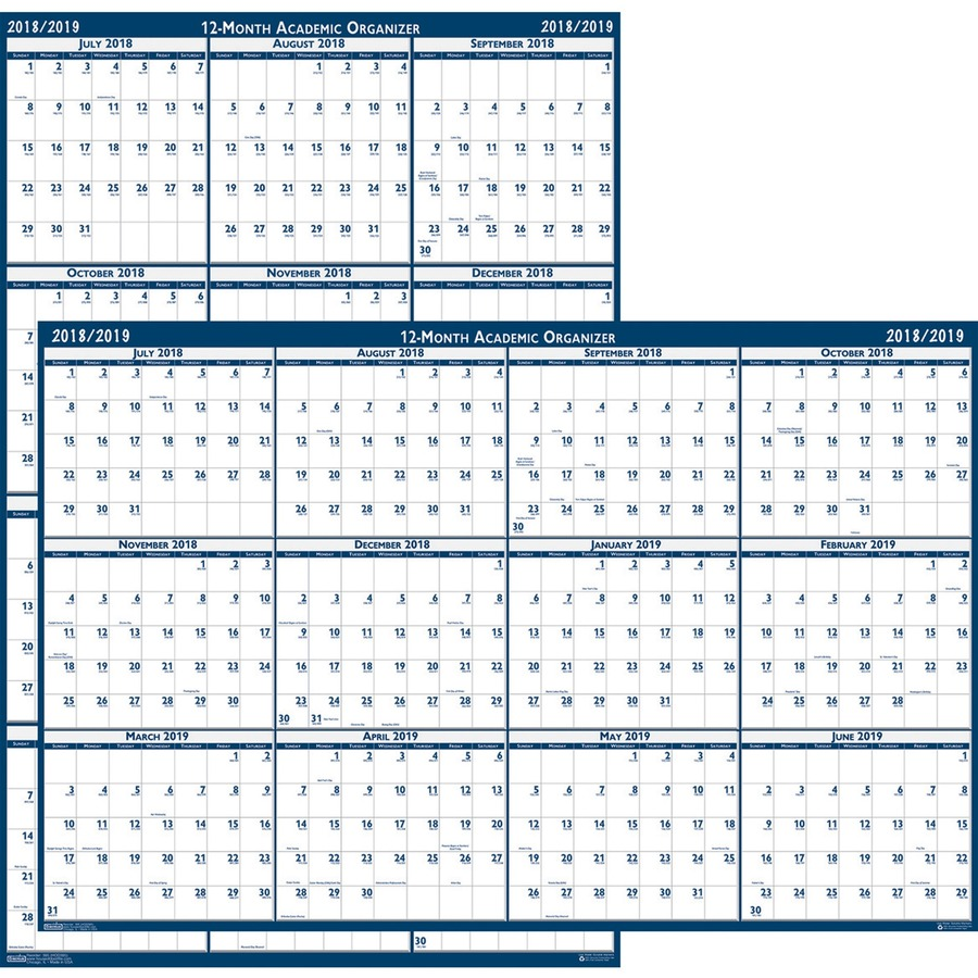 doolittle academic july-june wall calendar