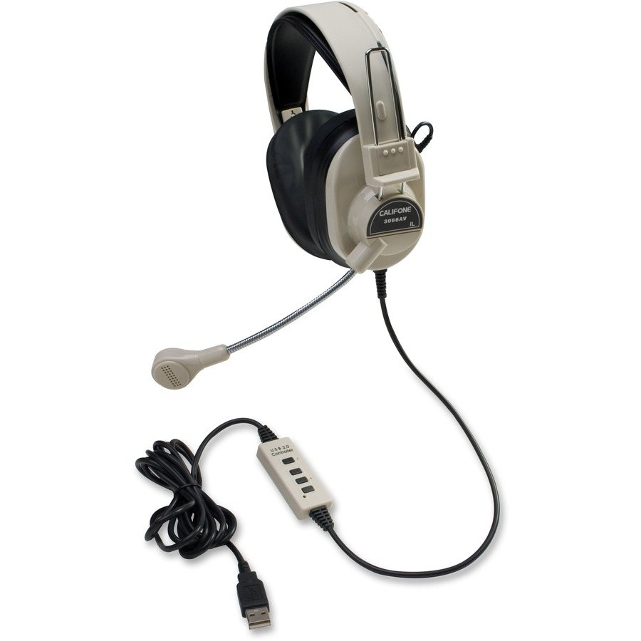 Califone Deluxe Stereo Headphone W Boom Mic Usb Electret Microphone Wiring Wired 20 Hz Khz Over The Head Binaural Ear Cup 7 Ft Cable