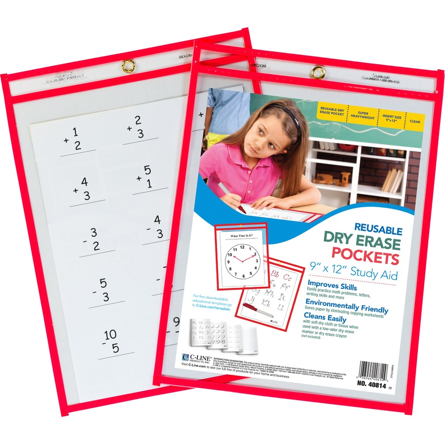 C Line Reusable Dry Erase Pocket Direct Office Buys