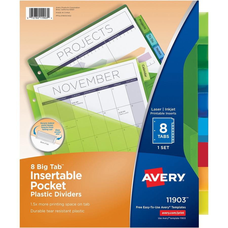 averyreg big tab plastic insertable dividers ave11903