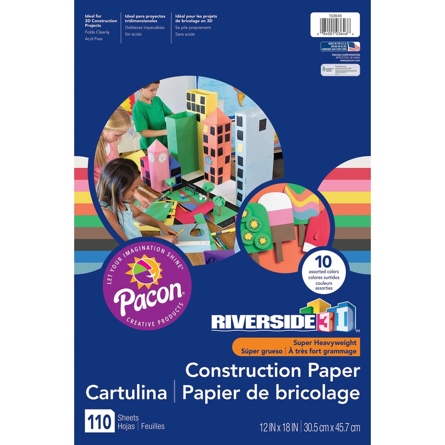Riverside 3D Construction Paper 12 x 18 50 Sheets Dark Brown