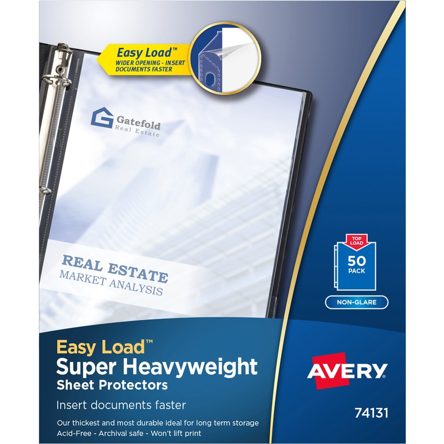 Avery Top-Load Poly Sheet Protectors Super Heavy Gauge Letter Nonglare 50//Box