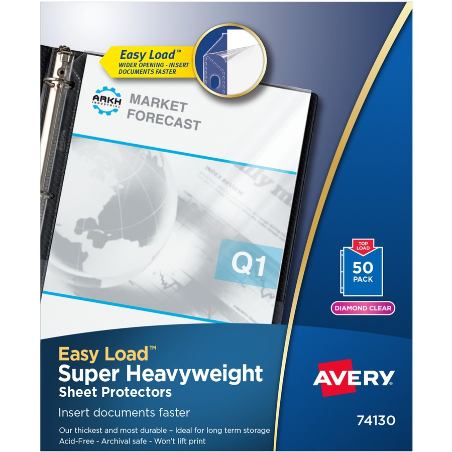 avery diamond clear super heavyweight sheet protectors icc