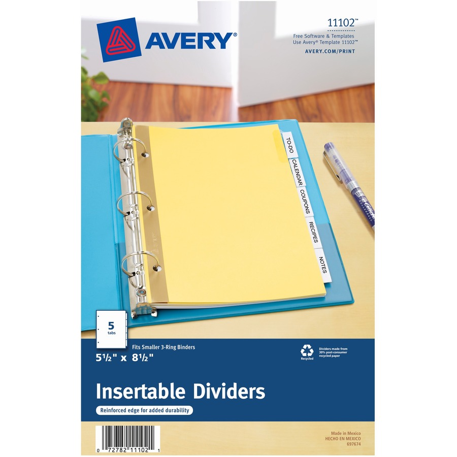 Avery Buff Colored Insertable Dividers Gold Reinforced Icc
