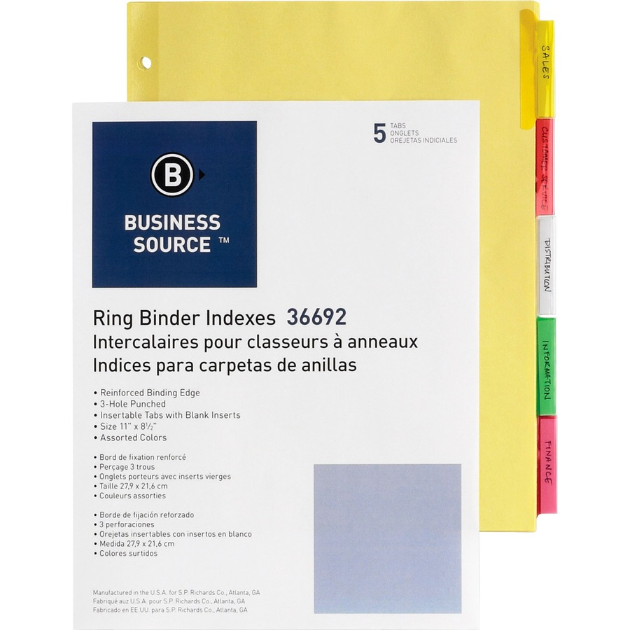 business source insertable tab ring binder indexes thomas business