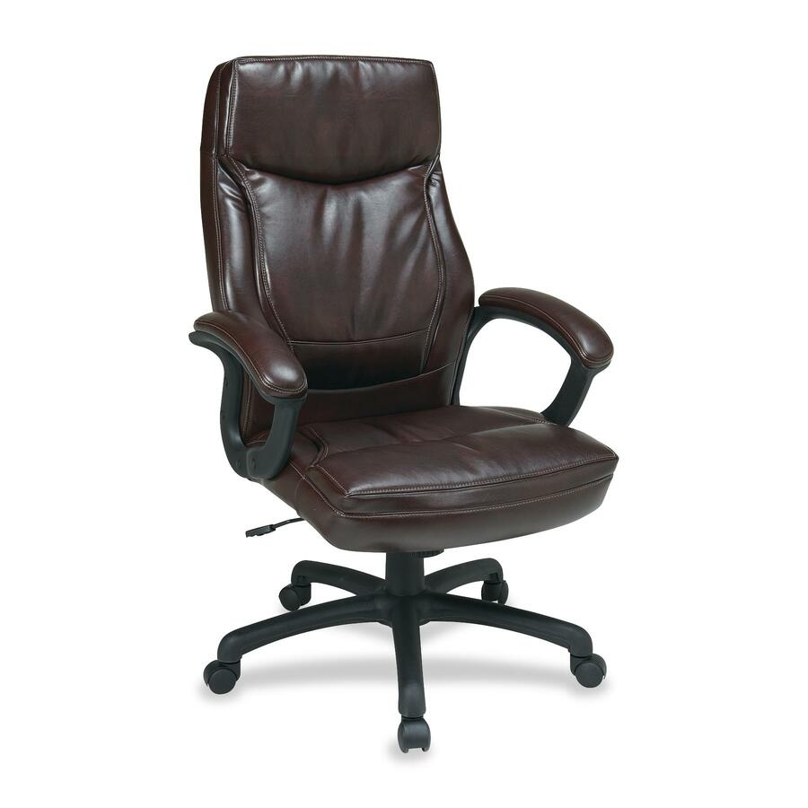 Office Star Worksmart Ec6582 Executive High Back Chair With Two Tone Stitching Ospec6582ec9