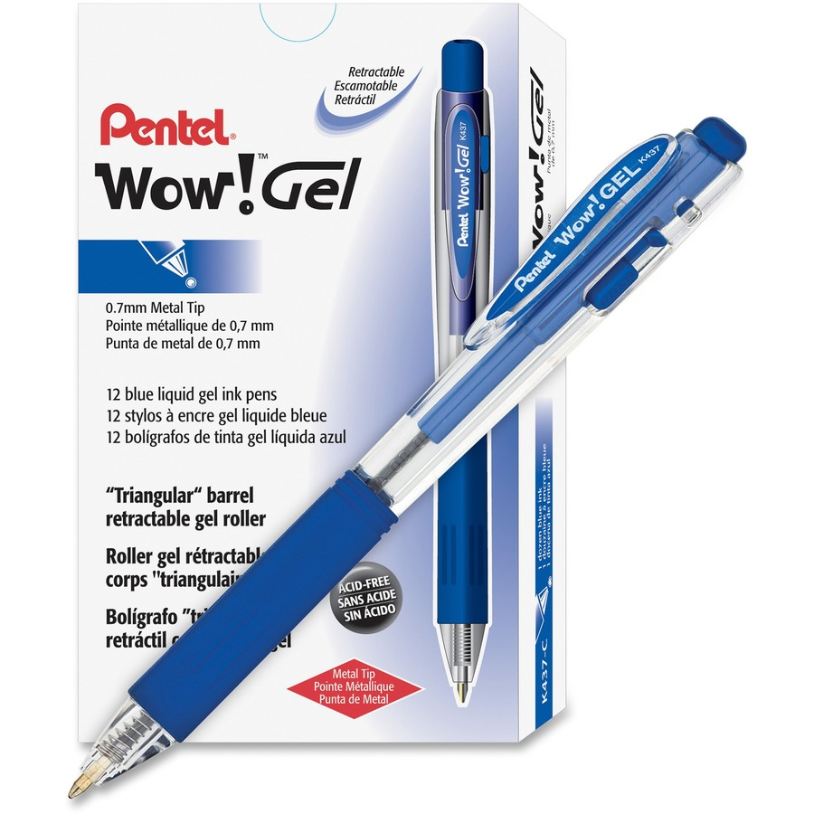 Pentel Wow Gel Pens Medium Pen Point 0 7 Mm Size Blue Based Ink Clear Barrel 1 Dozen