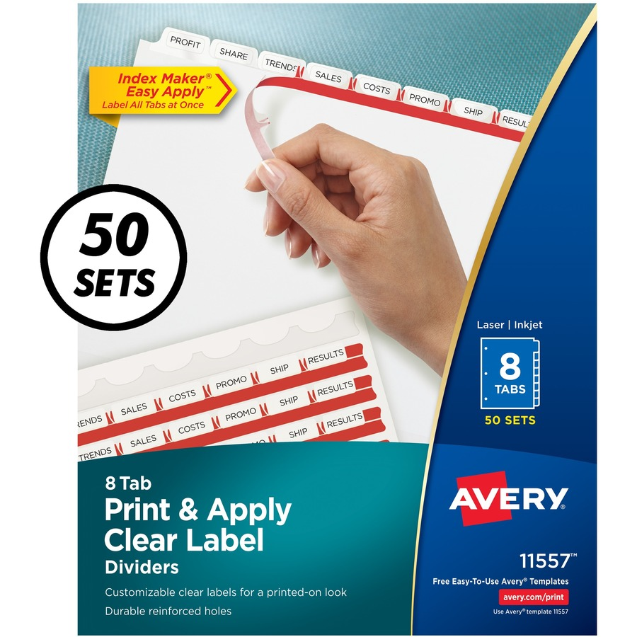 Avery® Index Maker Print & Apply Clear Label Dividers with White Tabs - 8  Tab(s) - 8 Tab(s)/Set - 8 5