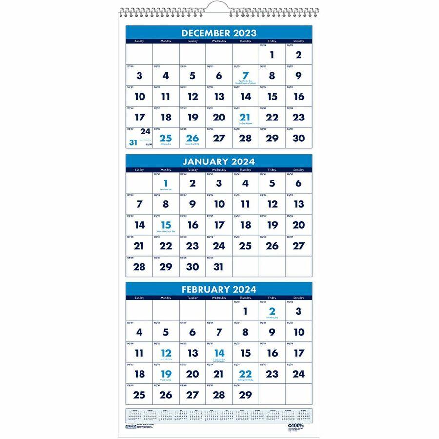 Hod3646 House Of Doolittle 3 Month Vertical 17 Wall Calendar