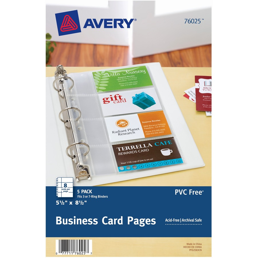 Avery Business Card Pages 8 X Capacity 5 1 2 Sheet Ring Binder Rectangular Clear Polypropylene Pack
