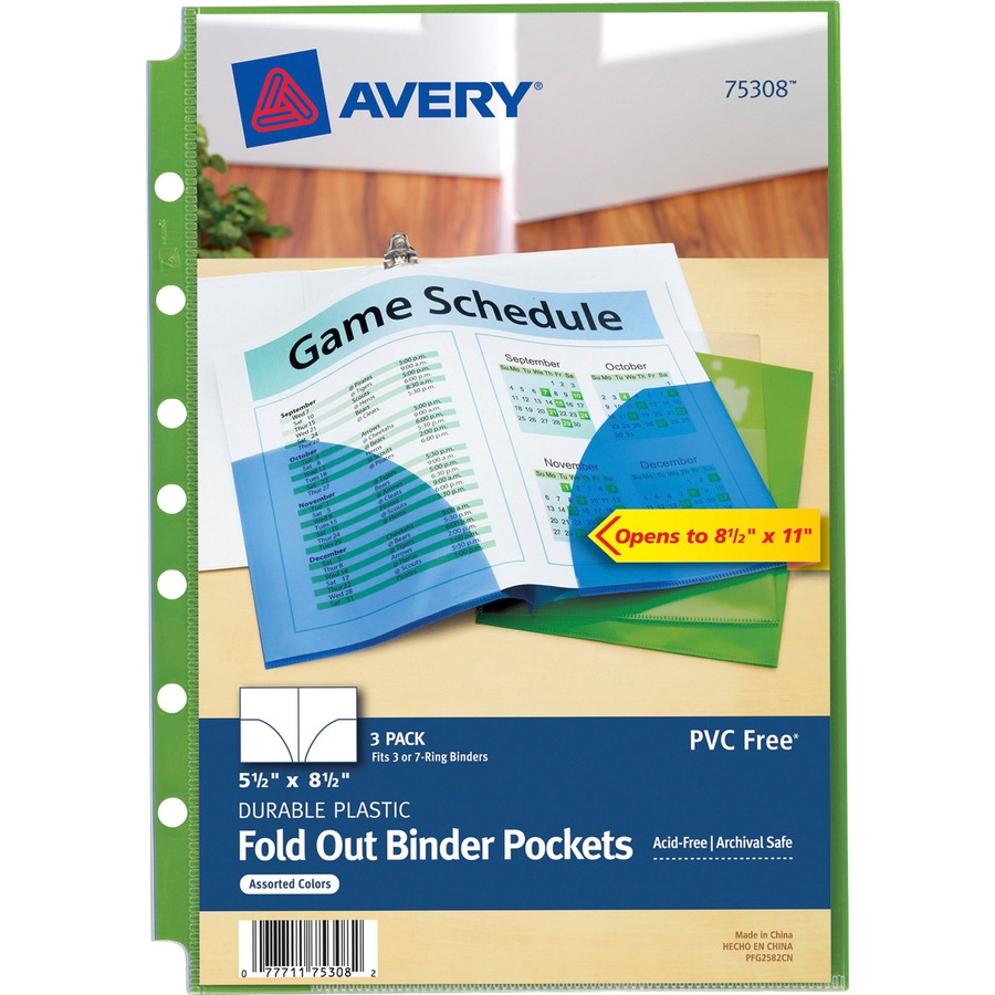avery 5 1 2 x 8 1 2 mini fold out binder pockets direct office buys