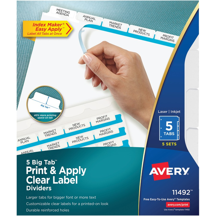 avery index maker big tab print apply clear label dividers with