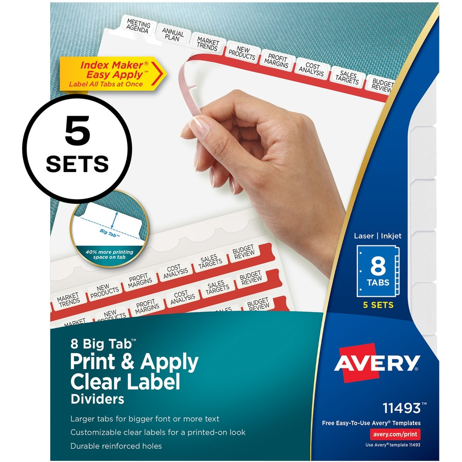 avery index maker big tab print apply clear label dividers with white tabs 8 x dividers 8 tabsset 85 divider width x 11 divider length