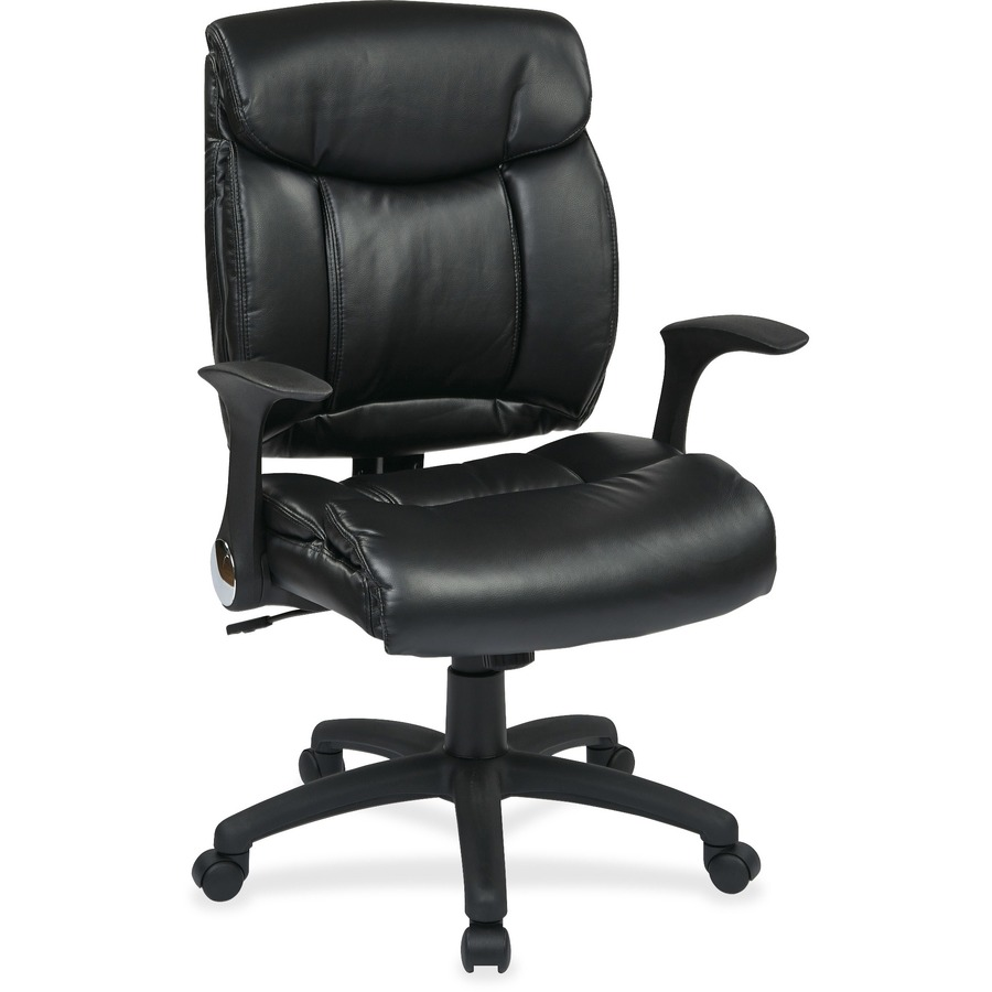 Worksmart Fl89675 Faux Leather Managers Chair With Flip Arms Ospfl89675u6