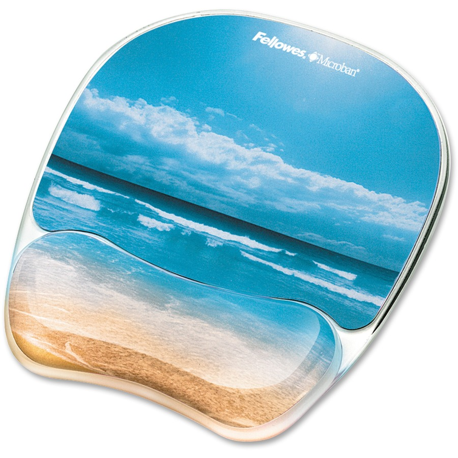 Fellowes Photo Gel Mouse Pad Wrist Rest with Microban® - Sandy Beach - 9 3