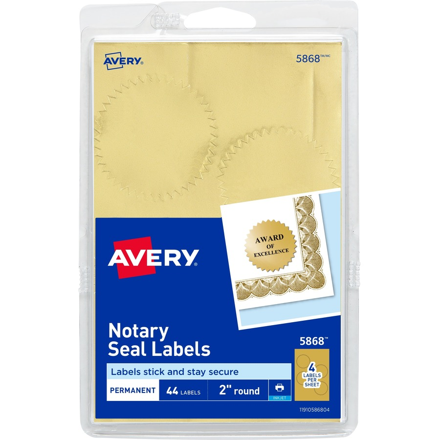avery printable gold foil notarial seals ave 05868