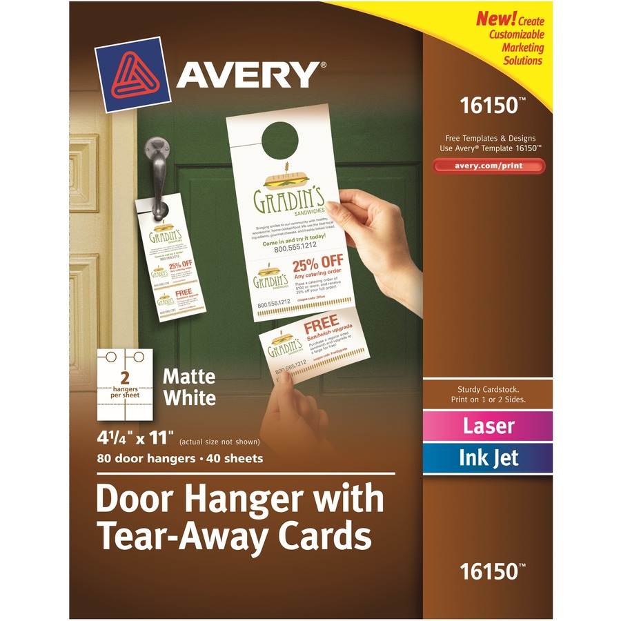 Avery laser inkjet tear away cards door hanger ave16150 for Avery flash cards template