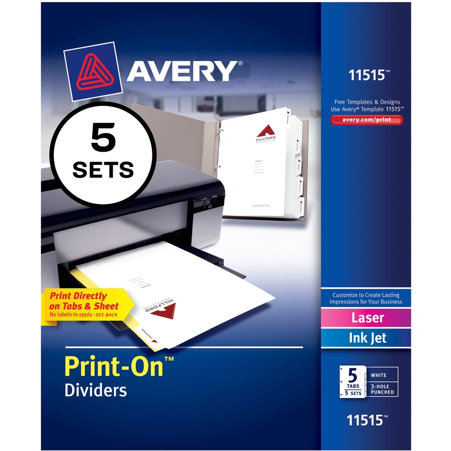 Avery Customizable Print On Dividers Ave 11515 Rrofficesolutions