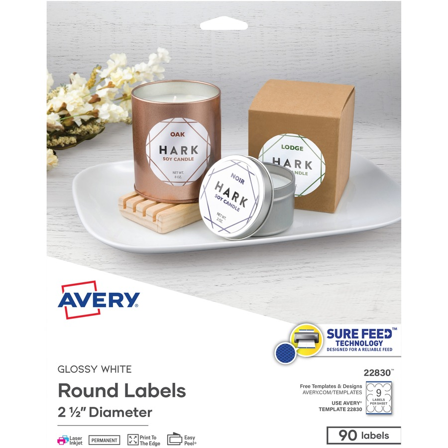Avery® White Print-to-the-Edge Round Labels
