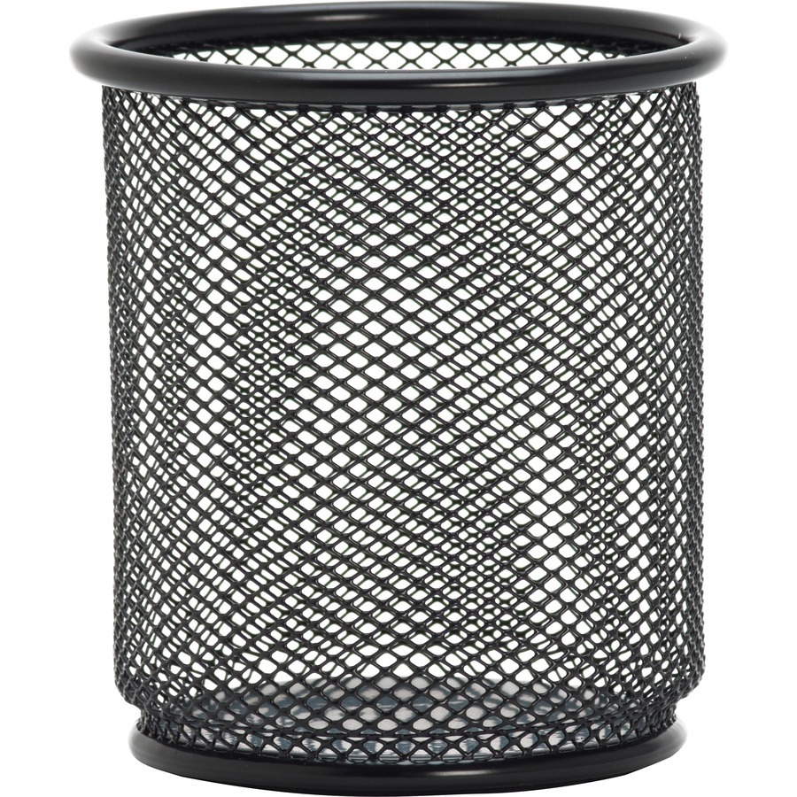 Lorell Black Mesh Wire Pencil Cup Holder 3 5 X 9 Steel 1 Each