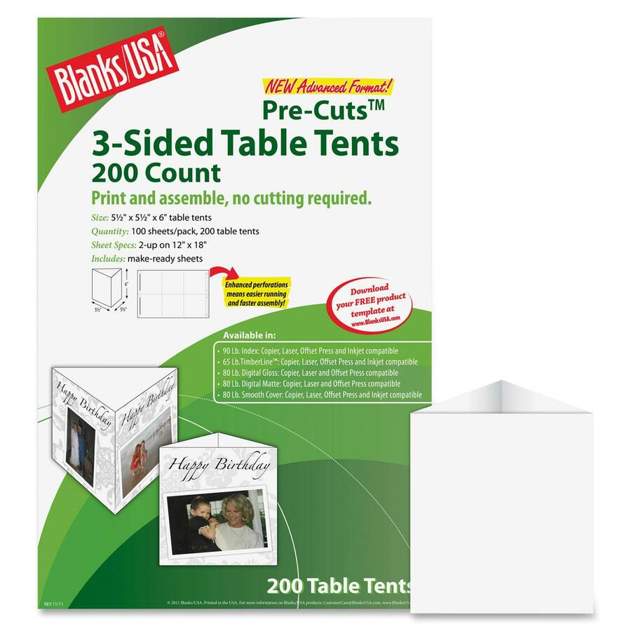 Blanks/USA Pre-Cuts Laser Print Tent Card BLATTT02FLWH  sc 1 st  Direct Office Buys & Blanks/USA Pre-Cuts Laser Print Tent Card - Direct Office Buys