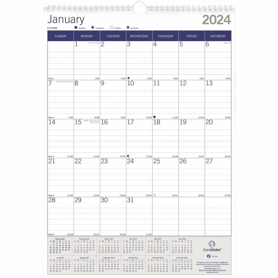 Blueline Duraglobe Wall Calendar Direct Office Buys
