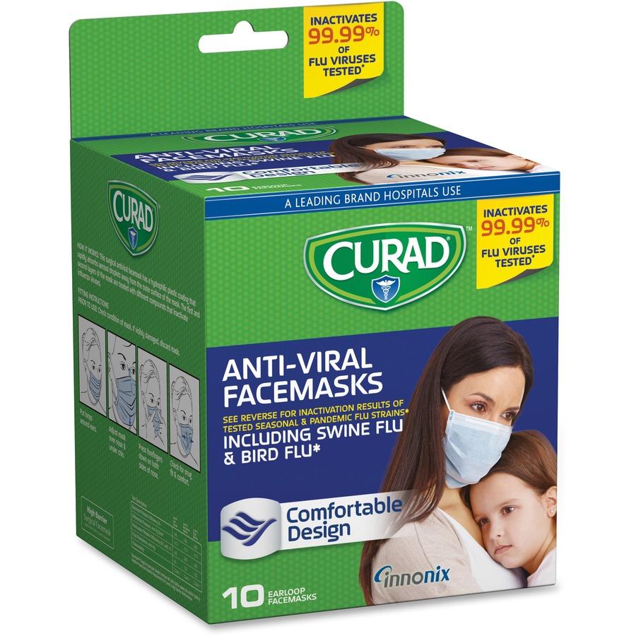 Protection Curad Polypropylene Medical Influenza Green Latex-free - Antiviral Box 10 Mask Virus Face