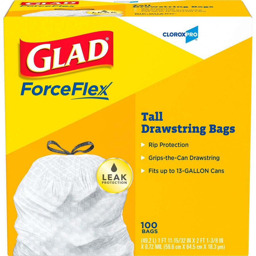 Glad ForceFlex Tall Kitchen Drawstring Trash Bags 100 Ct Package White 13 Gal