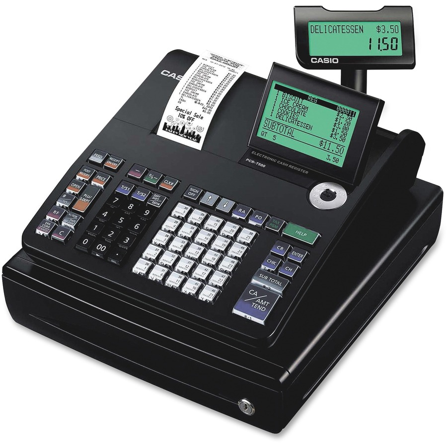 casio pcr t500 10 line display cash register. Black Bedroom Furniture Sets. Home Design Ideas