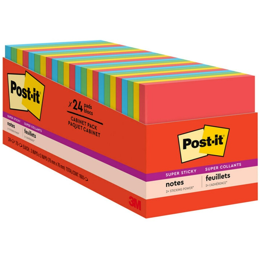 Post It Super Sticky Notes 24 Pad Cabinet Pack MMM65424SSANCP