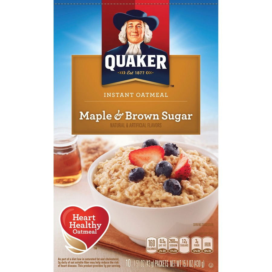 Quaker Oats Instant Oatmeal Quaker Instant Oatmeal Maple And Brown Sugar