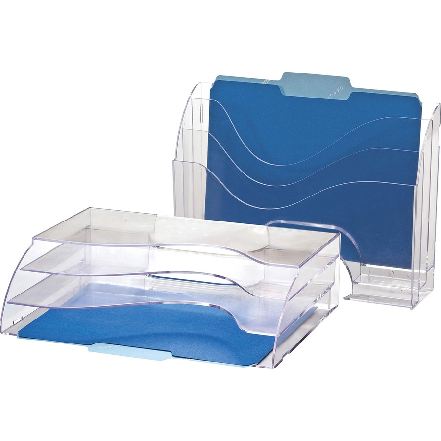 "Rubbermaid 3 Pocket File Folder Organizer Plastic Clear 13/"" X 3 1//2/"" X 11 1//2/"""