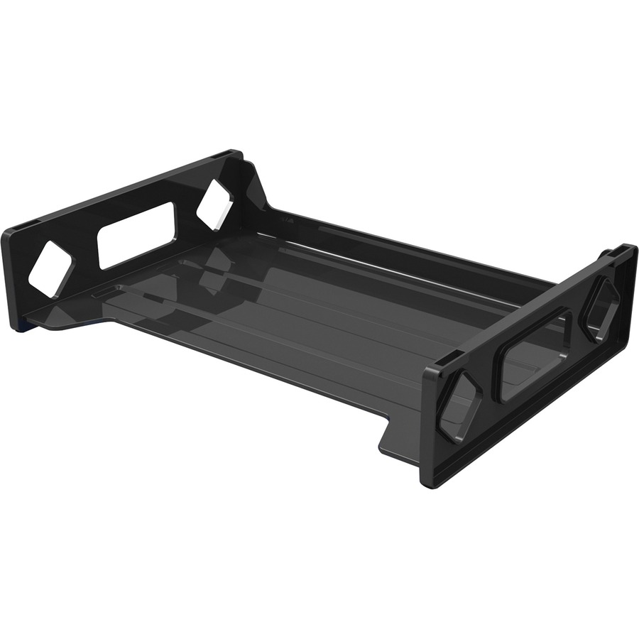 deflecto single stacking letter tray 28 height x 13 width x 9 depth desktop recycled black plastic 1each